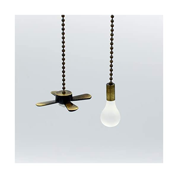 Bronze-Light-and-Fan-Cord-Ceiling-Pull-Chain-with-2pcs-12-inches-Extension-Chains
