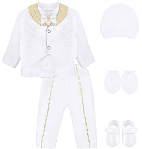 (Lilax Baby Boys Newborn Gentleman Outfit Long Sleeve White Shirt with Vest and Pant 6 Piece Set 0-3 Gold)