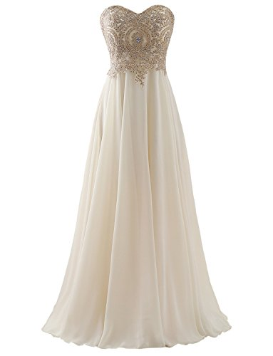 Erosebridal Sweetheart Long Prom Dress with Gold Embroidery Champagne US 4
