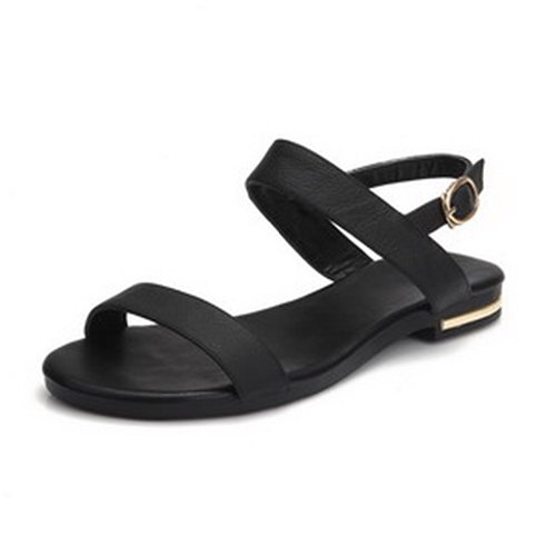 WeiPoot Women's Open Toe Flats Cow Leather Soft Material Solid Sandals, Black, 4.5 B(M) US