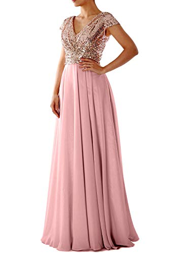 Formal Evening Macloth Bride Pink Dusty Sleeve Cap Mother V Sequin The Dress Neck Gown Rose Of Gold RxBBIrqX
