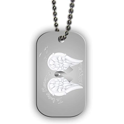 (BRGiftShop Personalized Custom Lung Cancer Wings Ribbon In Loving Memory Single Sided Metal Military ID Dog Tag with Beaded)
