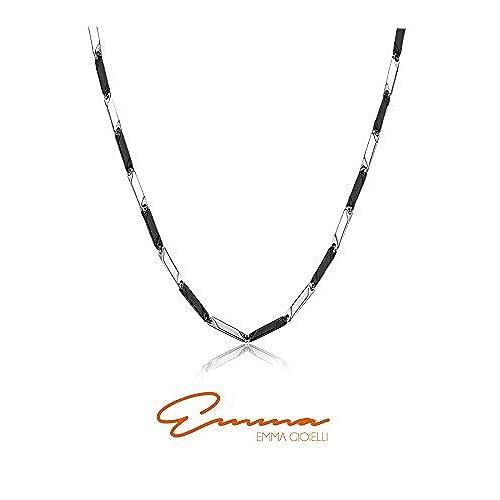 ff72b9438f14 Emma Gioielli - Collar Para Hombre y Mujer Unisex Cadena Barras Rígidas en  Acero de ALTA