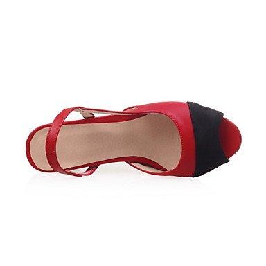 LvYuan Mujer Sandalias Pump Básico PU Verano Boda Casual Fiesta y Noche Vestido Pump Básico Combinación Tacón Robusto Negro Beige Rojo 5 - 7 cms ruby