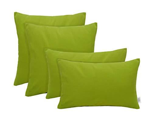 RSH Décor Set of 4 Indoor/Outdoor Square & Rectangle Lumbar Throw Pillows Sunbrella Canvas Macaw Green (20