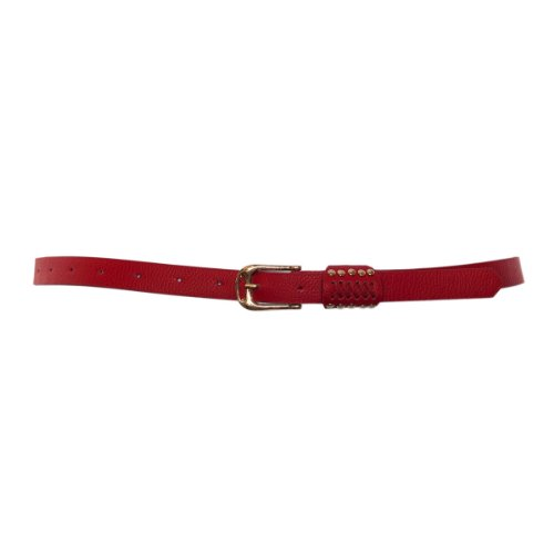 eVogues Plus Size Metal Stud Detailed Gold Buckle Skinny Belt Red - One Size Plus