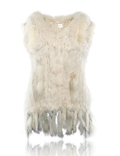 HEIZZI Knitted Rabbit Fur Vest with Raccoon Fur -