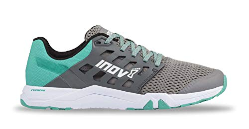 (Inov-8 Womens All Train 215 | Lightweight Cross Training Athletic Shoe | for Versatile Training | Great Support When Weight Lifting and Power Lifting |Grey/Teal M8/ W9.5)