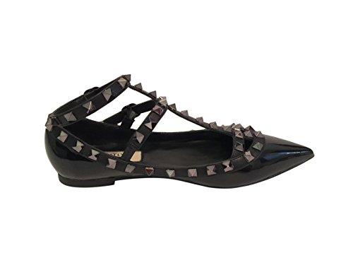 Kaitlyn Pan-teen Studded Strappy Gekooide Ballerina Lederen Flats Zwart Lak / Zwarte Trim / Gun Black Studs