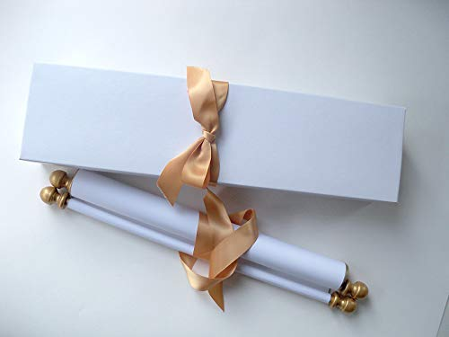 Wide blank white cotton paper scroll for handwritten calligraphy, gold accent, 8x17