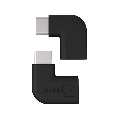 Right Angle USB C Adapter, Cellularize (Black, 2 Pack) Right & Left Angle 90 Degree USB 3.1 Type C Male to Female Extension Adapter (3A/10G) for Nintendo Switch, Laptop, Tablet, Mobile Phone