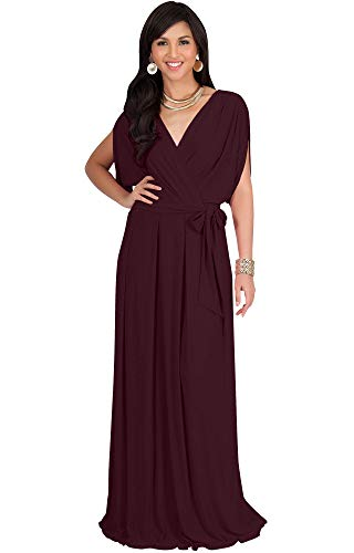 KOH KOH Plus Size Womens Long Formal Short Sleeve Cocktail Flowy V-Neck Casual Bridesmaid Wedding Party Guest Evening Cute Maternity Work Gown Gowns Maxi Dress Dresses, Maroon Wine Red XL 14-16