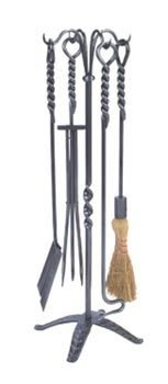 5 Piece Natural Wrought Iron Tool Set Rope Pattern 31'' (5 Piece Natural Wrought Iron)