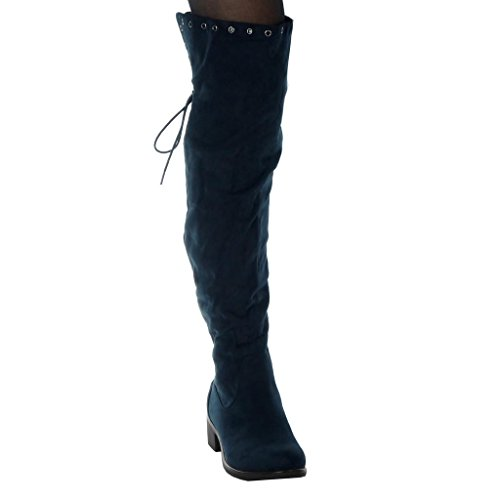 Doux Cuissarde Angkorly Chaussures Mode Perforé Motards Cavalier Féminine De Marine Lacets 4 Bloc Talon Cm Haut De d8wqXCw