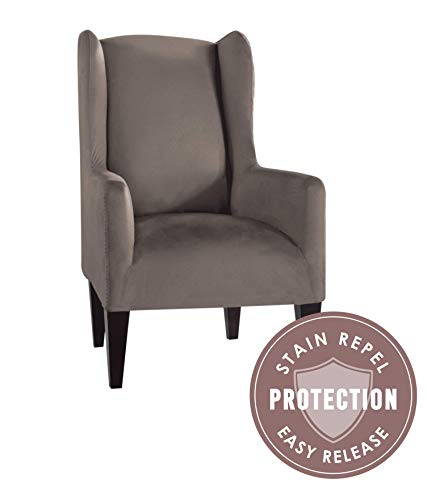 - Tailor Fit Microsuede Wingback Chair Furniture Slipcover, Stain Repellant & Stretch Fit Material (Grey)