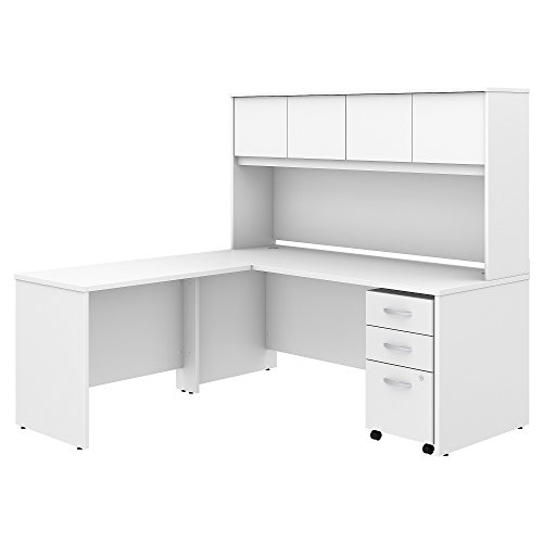 Studio C 72W x 30D L Shaped Desk with Hutch, Mobile File Cabinet and 42W Return in White
