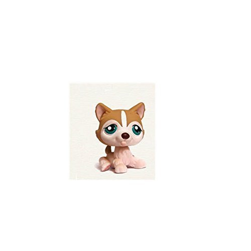 Littlest Pet Shop Husky Puppy Dog # 386 (Creme And Tan With Sea Green Eyes) - LPS Loose Figures - Replacement Pets - LPS Collector Toy (Out Of Package/OOP)