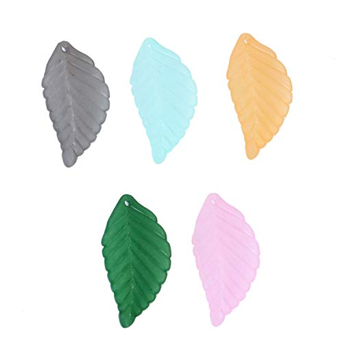 Monrocco 100 pcs Acrylic Frosted Leaf Charm Pendants Frosted Leaves Beads for DIY Bracelet Necklace Jewelry - Leaf Charms Beads
