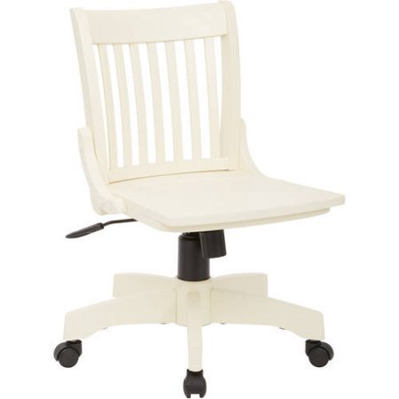 Deluxe Wood Banker's Chair (Antiqued White) ()