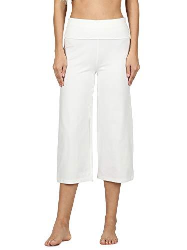 Women Cotton-Blend Fold-Over Yoga Capri Pants (Ivory, Medium) ()