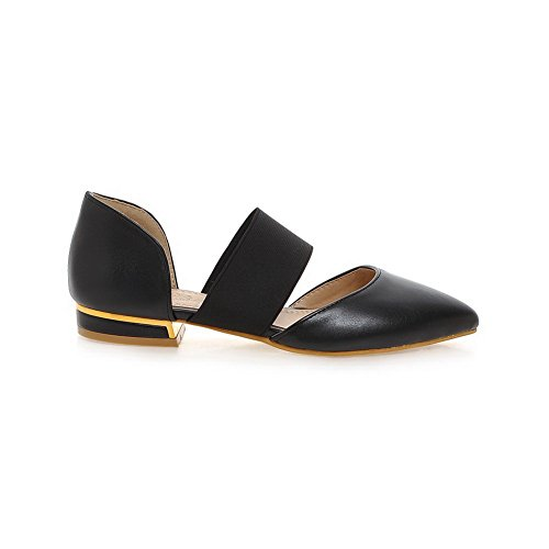 Womens Black Elastic Flats Pointed SLC03643 Toe AdeeSu Urethane Shoes 76dxUtq78w