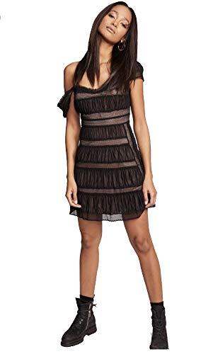 Free People Women's Alicia Crochet-Contrast Mini Dress (Black, 12) ()
