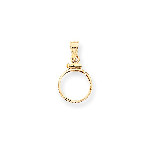 14k Yellow Gold Screw Top $1.0 Bezel Necklace Pendant Charm Coin Holders/bezel Fine Jewelry Gifts For Women For Her