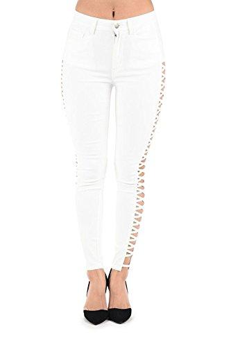 American Bazi High Waisted Super Stretch X Cut-Out Skinny Pants RJH614 - WHITE - 3X-Large - J10B