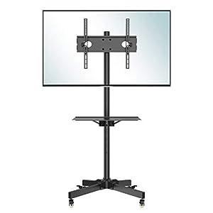 BONTEC Support TV roulettes Chariot Meuble TV pour Ecran de 23-55 Pouces Plasma/LCD/LED, Hauteur Réglable de 800-1500 mm…
