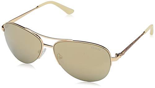 GUESS Women's Gu7468 Aviator Sunglasses, gold & smoke mirror, 59 mm