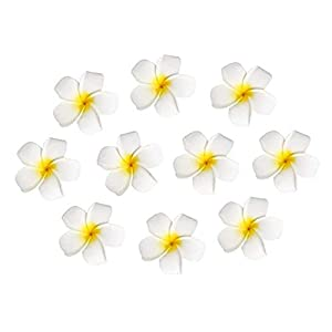 10pcs Hawaiian Artificial Plumeria Foam Flower Hair Clip For Wedding Party Headdress Home Decoration White Yellow 9