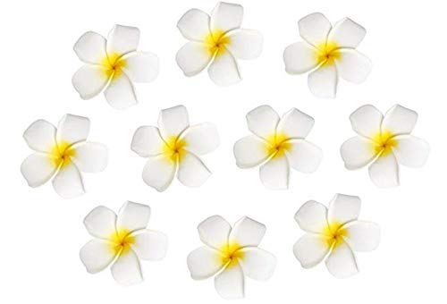 10pcs Hawaiian Artificial Plumeria Foam Flower Hair Clip For Wedding Party Headdress Home Decoration White Yellow for $<!--$5.99-->
