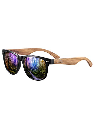 Price comparison product image Polarized Sunglasses for Men and Women Driving Wooden legs Gray mirror lens (blue)