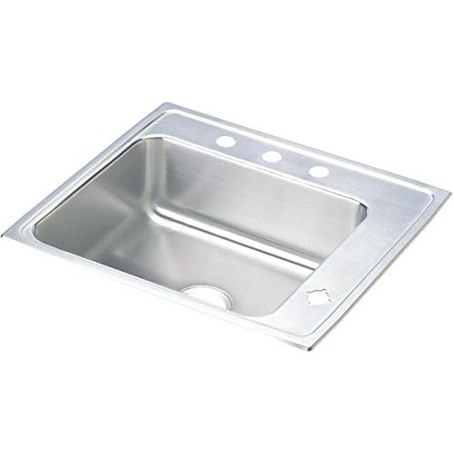 - Elkay DRKR2522R4 Lustertone Classic Single Bowl Drop-in Stainless Steel Classroom Sink