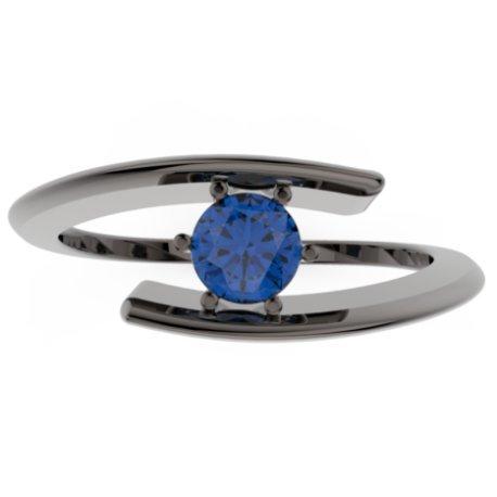 HABY Bagues Or Noir 18 carats Saphir Bleu 0,6 Rond