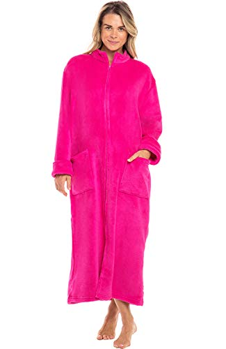Alexander Del Rossa Women's Zip Up Fleece Robe, Warm Loose Sherpa Bathrobe