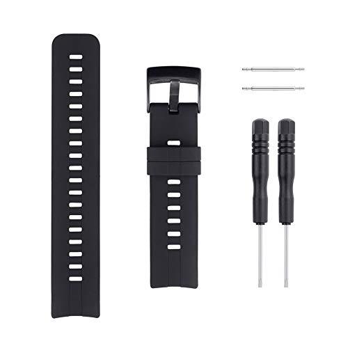 Sencato Suunto Spartan Sport HR Luxury Version Soft Silicone Replacement Band, Wrist Strap (All Black) ()