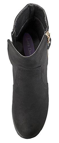 Lora Dora Womens Chunky Block Heel Chelsea Boots Black Suede Zip-up ZcWaF