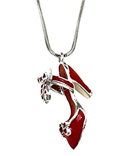 (DianaL Boutique Red Enameled High Heel Shoe Charm Pendant Necklace Fashion Jewelry)