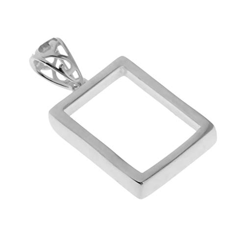 Prettyia 925 Sterling Silver Rectangle Shape Pendants Blanks Base Cabochons Charms Bezel Settings Tray Jewelry Findings for DIY Necklaces Earrings Silver