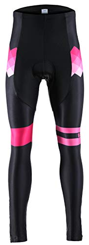 Balnna Bike Tights for Women 3D Padded Cycling Tights Pants Wide Waistband-pink-2xl