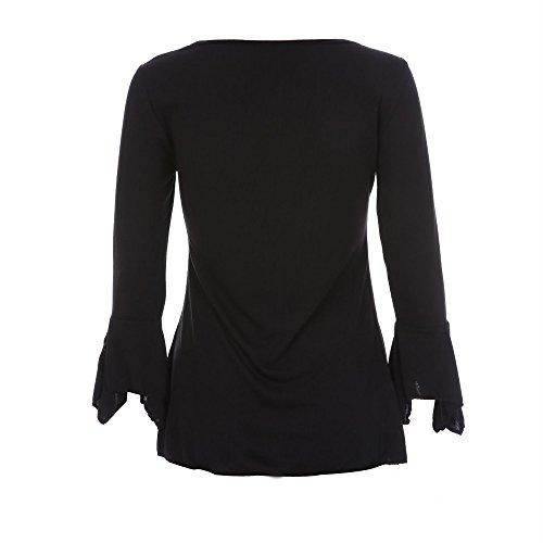 T Classique Manches Shirt Lache Guesspower Casual Femme Haut Chic Top 4 Chemisier Mode Manches Chemisier 3 Longues Noir Tops Femmes Blouse 0gFqU