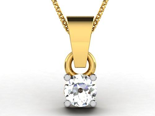 Or Jaune 9 ct Pendentifs Diamant solitaire, 0.2 Ct Diamant, GH-SI, 0.4 grammes.