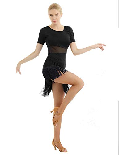 MSemis Woman Flapper Latin Dance Dresses Costume Fringe Ballroom Lyrical Rumba Salsa Tango Dancewear (Black, ()