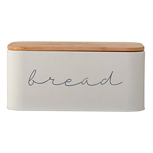 Bread Canister - Bloomingville A97306650 Metal Bread Bin with Bamboo Lid, 11.75