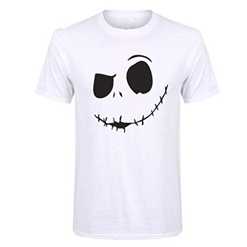 Mens Summer T-Shirt New Evil Smile Face Printed Round Collar Comfortable Top White