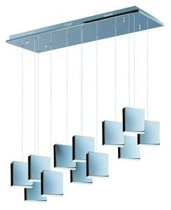 ET2 E22268-61PC Brick 12-Light LED Linear Pendant, Polished Chrome Finish, White Glass, PCB LED Bulb, 50W Max., Dry Safety Rated, 2900K Color Temp., Electronic Low Voltage (ELV) Dimmable, CRYSTAL Shade Material, 320 Rated Lumens