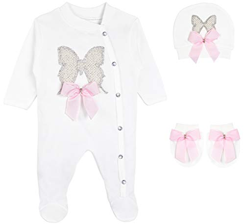 (Lilax Baby Girl Jeweled Butterfly Layette 3 Piece Gift Set 3-6M)