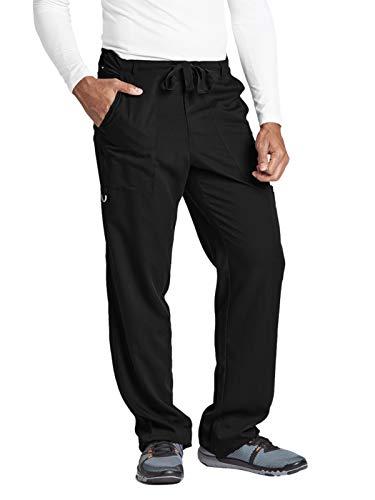 Grey's Anatomy Signature Men's Big 0203  6 Pocket Zip Fly Drawstring Scrub Pant, Black, Small - Signature Drawstring Pants