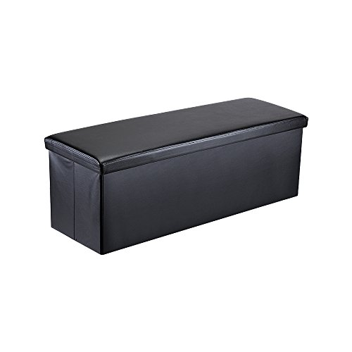 Lumsing Storage Ottoman Bench, Multi-purpose Faux Leather Folding Hidden Storage Foot Rest Space Saving Footstool (Black) - Leg Faux Leather Bench